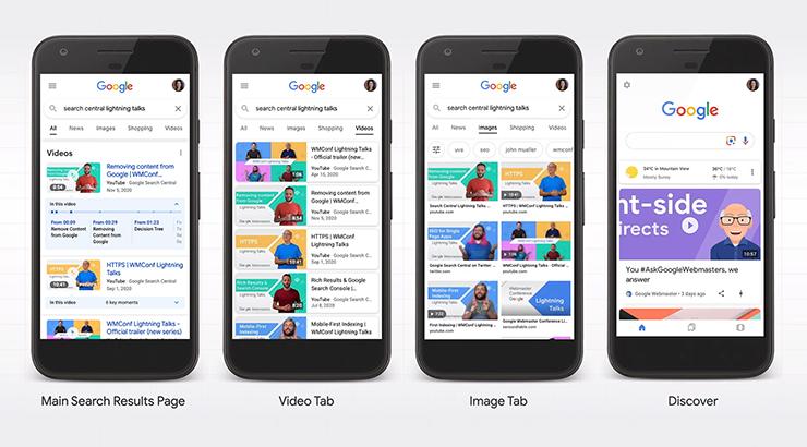 Google sẽ hiển thị video trên trang tìm kiếm chính, thẻ video, thẻ hình ảnh, và Khám phá (Discover)
